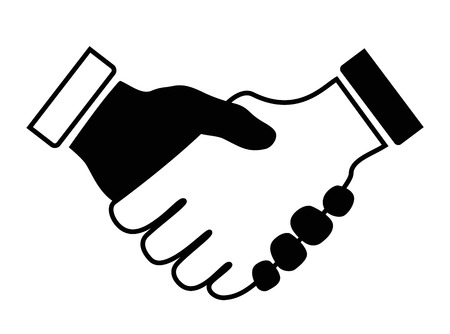 business people shaking hands: hand shake icon black and white Illustration