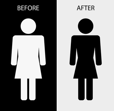 weight loss woman: icon woman fat slim - weight loss concept design Illustration