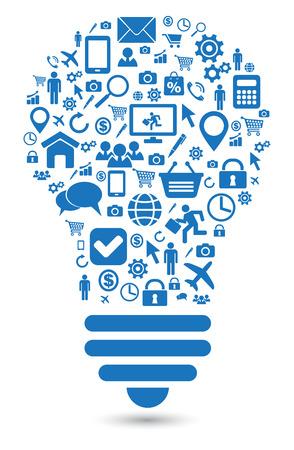 lightbulb social media concept symbol