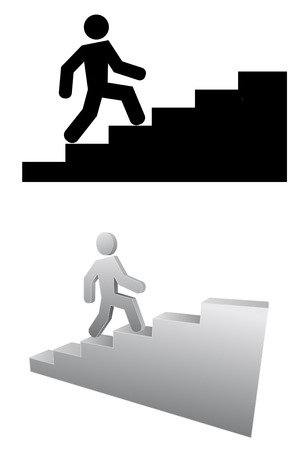 person on stair 3d icon