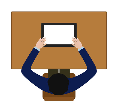 person sitzend: Person sitzt Halte Tablet PC