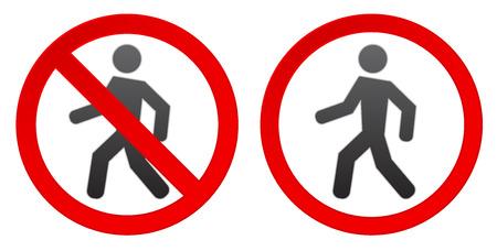 persoon lopen waarschuwing stoptekenpictogram