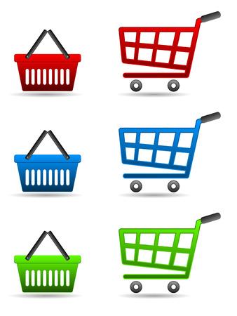 shopping cart icon set Illustration