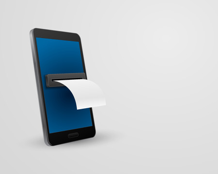 smartphone with bill check concept 3d Illustration