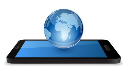 smartphone with globe 3d