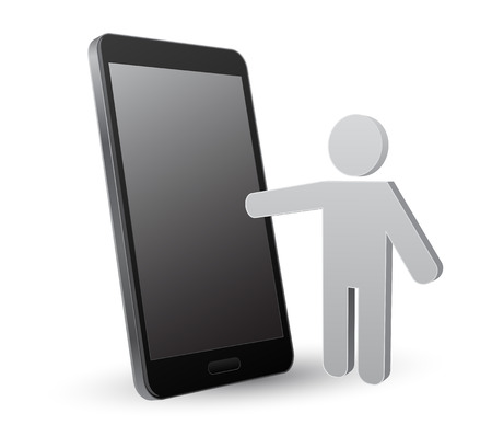 smartphone with person icon 3d