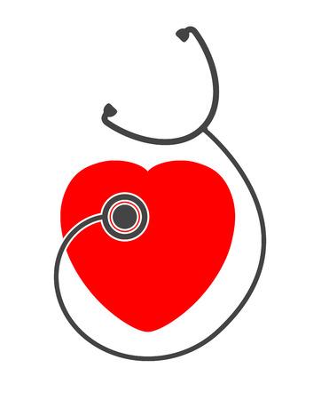stethoscope heart icon design Illustration