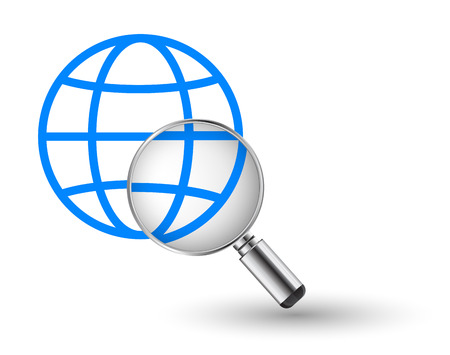 globe and magnifying glass icon