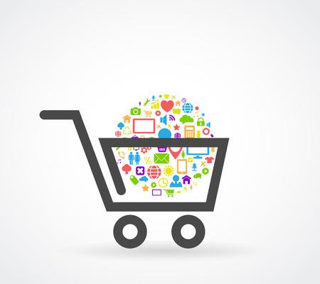 쇼핑 카트 소셜 미디어 개념