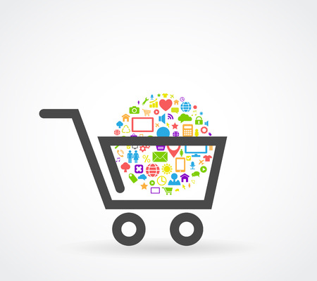 shopping cart: shopping cart social media concept