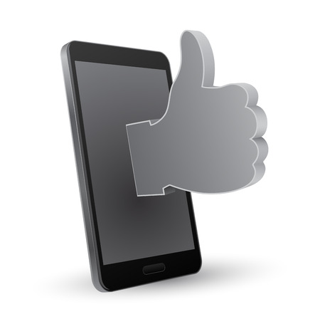 hand showing thumbs up: smartphone 3d thumbs up icon concept Illustration