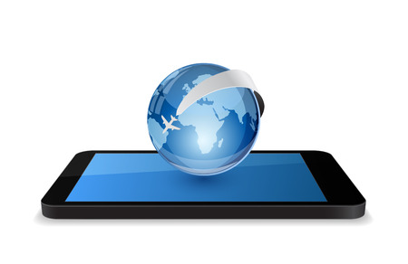 smartphone with globe and plane icon 3d