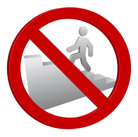persoon lopen icon verboden teken 3d Stock Illustratie