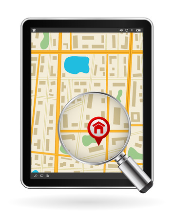 digital tablet pc with gps map and zoom glass design Vector