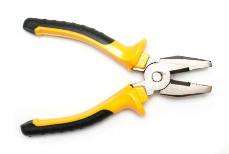 pliers tool top view on white background