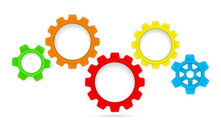 gears cogs colored teamwork mechanism isolated on white Reklamní fotografie