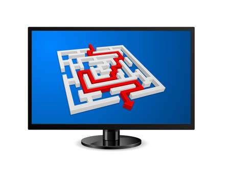monitor pc icon with maze labyrinth 3d isolated on white