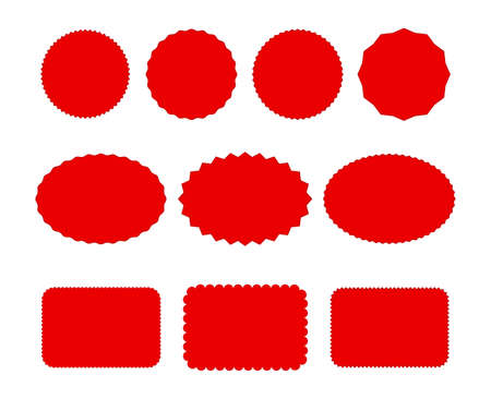 red label sticker price tag shape icon set