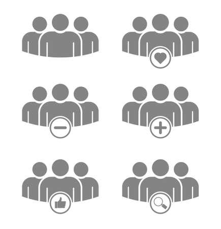 people group teamwork icon set
