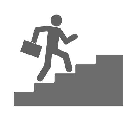 career icon with businessman climbing upstairs isolated on white background