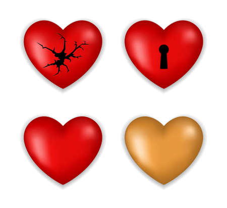 heart 3d icon with broken surface and key hole isolated on white background Foto de archivo