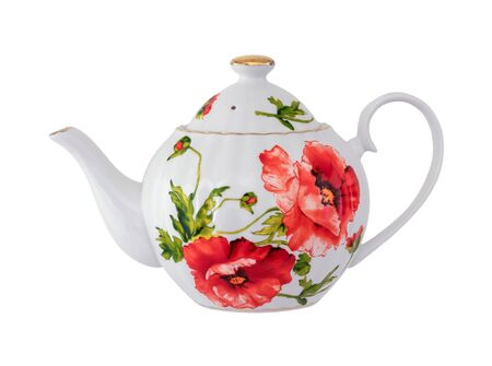 Teapot for tea with patterns of flowers.