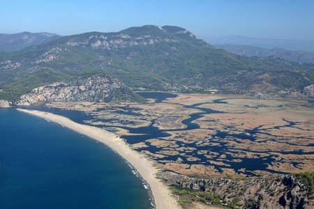 Iztuzu beach and the delta of Dalyan river, Dalyan, Mugla, Turkey photo