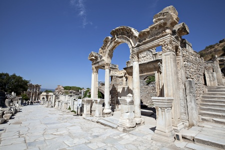 Hadrian Temple, Ephesus, Izmir, Turkey Stock Photo
