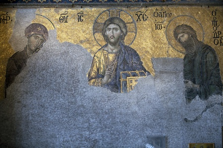 The Deesis mosaic in the Hagia Sophia church, Istanbul, Turkey