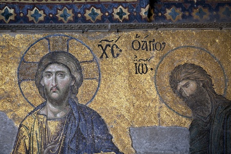Jesus and John the Baptist, The Deesis Mosaic  12th centry  in The Hagia Sophia church, Istanbul, Turkey