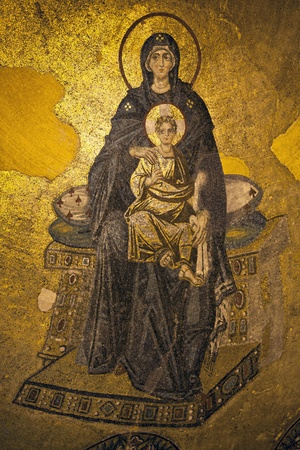 Virgin Mary and Child Christ, The Apse Mosaic, Hagia Sophia, Istanbul, Turkey Editorial