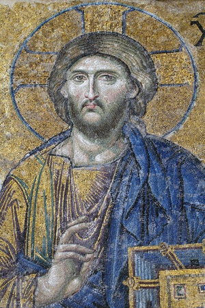 Christ, The Deesis Mosaic  12th centry  in The Hagia Sophia church, Istanbul, Turkey