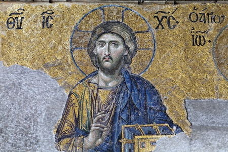 Christ, The Deesis Mosaic  12th centry  in The Hagia Sophia church, Istanbul, Turkey Editorial