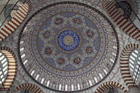 Turkey, Edirne, Cupola della Moschea Selimiye. Il patrimonio mondiale dell'UNESCO della Moschea Selimiye, costruito da Mimar Sinan Nel 1575
