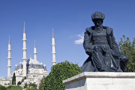 Turkey, Edirne, Selimiye Mosque and statue of its architect Mimar Sinan. The UNESCO World Heritage Site Of The Selimiye Mosque, Built By Mimar Sinan In 1575. Editorial