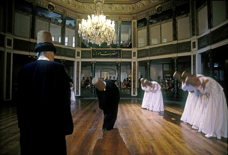 Whirling derwishes, Galata Dervish House, Istanbul Editorial