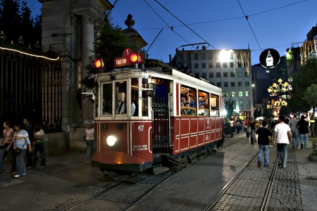tramway: A nigth view of Beyoglu, Istanbul, Turkey