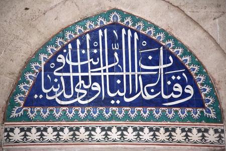 iznik: Iznik Tile Detail from wall of Selimiye Mosque, Edirne, Turkey
