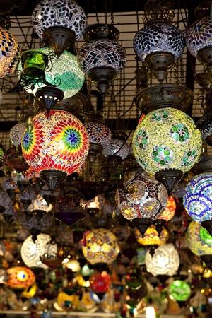 laterns: Mosaic Turkish laterns in Grand Bazaar, Istanbul, Turkey