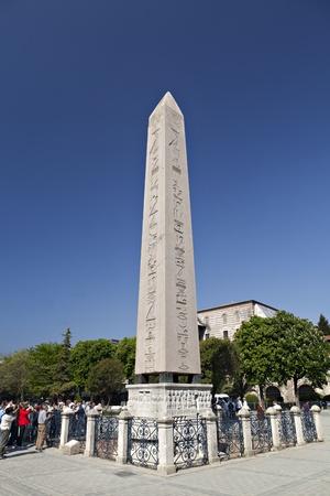 Istanbul, Turchia - maggio, 15,2011 L'Obelisco di Teodosio turca Dikilita? � il obelisco egizio del faraone Tutmoses III ri-eretto nel Ippodromo di Costantinopoli noto oggi Meydan? Sultanahmet, nella citt� moderna di Istanbul, Turke