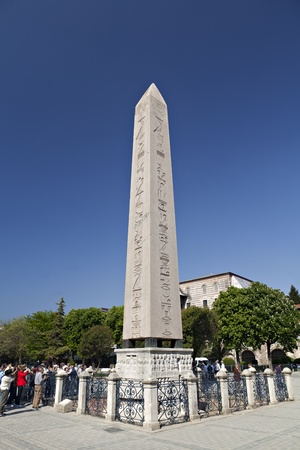 Istanbul,Turkey - May, 15,2011  The Obelisk of Theodosius  Turkish  Dikilitaş  is the Ancient Egyptian obelisk of Pharaoh Tutmoses III re-erected in the Hippodrome of Constantinople  known today Sultanahmet Meydanı, in the modern city of Istanbul, Turke