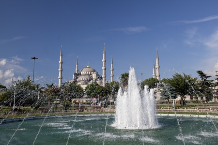 Istanbul,Turkey - June, 18,2011: The Sultan Ahmed Mosque (Turkish: Sultanahmet Camii) is a historical mosque in Istanbul, the largest city in Turkey and the capital of the Ottoman Empire. The mosque is popularly known as the Blue Mosque for the blue tiles