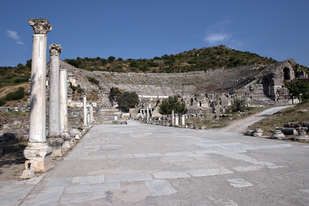 amphitheater: Street and Amphitheater of Ephesus, Izmir, Turkey