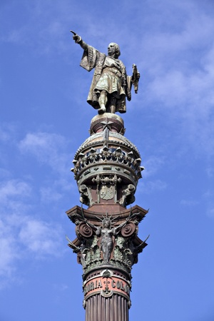 Columbus column on the Barcelona habour, at the end of the famous street Las Ramblas. photo