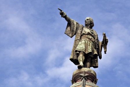 christopher columbus: Columbus column on the Barcelona habour, at the end of the famous street Las Ramblas.