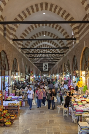 edirne: Edirne, Turkey - May 6, 2012:Tourists and local people visit  Alipaşa bazaar in Edirne
