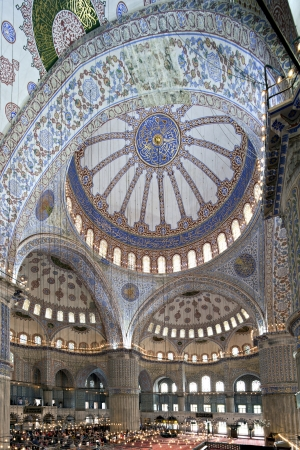 incorporates: Istanbul, Turkey - May 19, 2012  Tourists visit Sultan Ahmet Mosque The design of the Sultan Ahmed Mosque is the culmination of two centuries of both Ottoman mosque and Byzantine church development  It incorporates some Byzantine elements of the neighbori