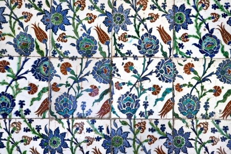Wall tiles in Sultanahmet Mosque, Istanbul, Turkey