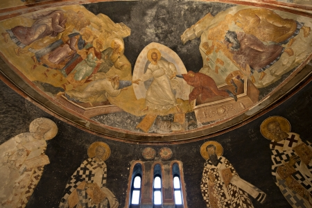 chora: The patriarchs and bishops of the apse wall in Chora Church, Istanbul, Turkey  The Church of the Holy Saviour in Chora  Turkish Kariye M&Atilde,zesi, Kariye Camii, or Kariye Kilisesi,the Chora Museum, Mosque or Church  is considered to be one of the most  Editorial