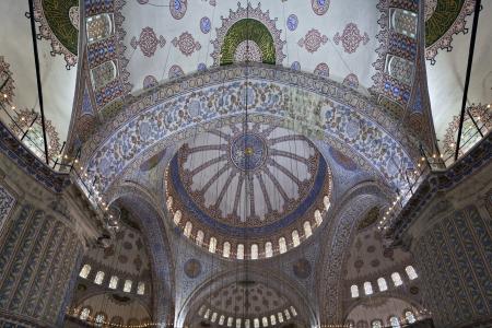 Interior view of Sultanahmet Mosque, Istanbul, Turkey